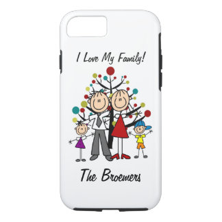 Stick Figure Dad, Mom, Girl, Boy  iPhone 7 iPhone 8/7 Case