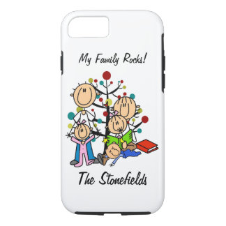 Stick Figure Dad, Mom, Two Girls, Boy iPhone 7 iPhone 7 Case