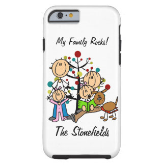 Stick Figure Dad, Mom, Two Girls, Dog iPhone 6 Tough iPhone 6 Case