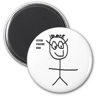 Stick Figure Dan 2 Inch Round Magnet