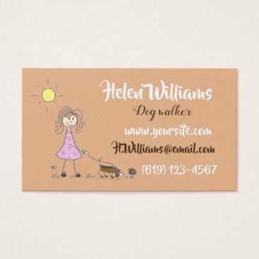 Professional Business Stick figure dog walker business card