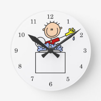 Stick Figure Doing Dishes Round Wall Clocks