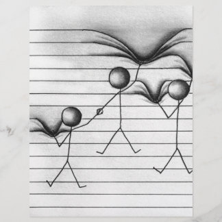 Stick Figure Drawing of Hanging on Lines