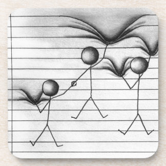 Stick Figure Drawing of Hanging on Lines Beverage Coasters
