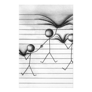 Stick Figure Drawing of Hanging on Lines Stationery