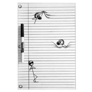 Stick Figure Drawing of Spies and Spy on Lines Dry Erase Board