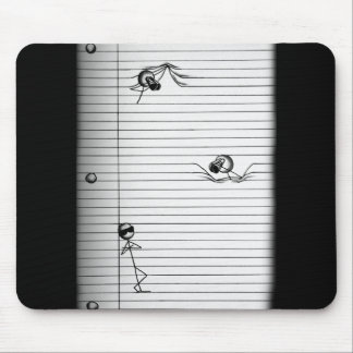 Stick Figure Drawing of Spies and Spy on Lines Mouse Pad