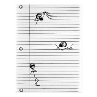 Stick Figure Drawing of Spies and Spy on Lines Postcard