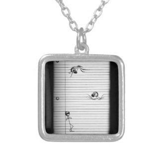 Stick Figure Drawing of Spies and Spy on Lines Silver Plated Necklace