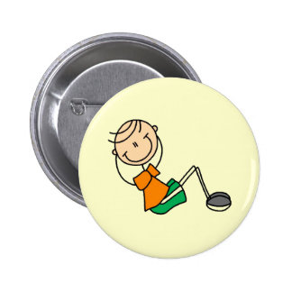 Stick Figure Exercising T-shirts and Gifts Pinback Button