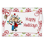 Stick Figure Expectant Couple Christmas Holiday Card