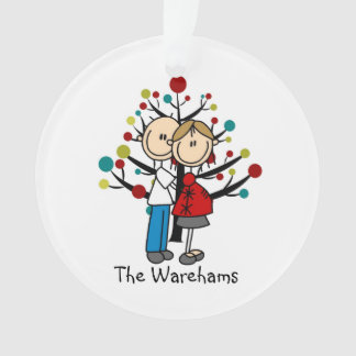 Stick Figure Expectant Couple Holiday Ornament