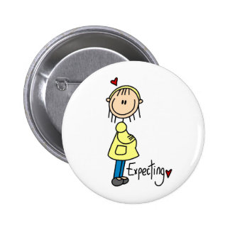 Stick Figure Expecting Baby Pinback Buttons