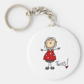 Stick Figure Expecting Twins Keychain