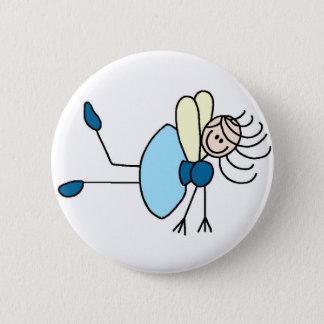 Stick Figure Fairy In Blue Button