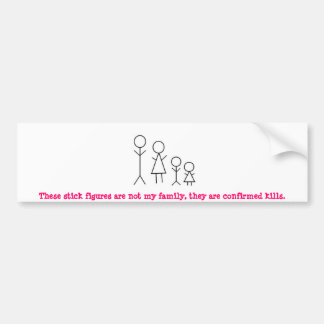 stick-figure-family2.jpg, These stick figures a... Bumper Sticker