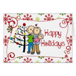 Stick Figure Family Baby Girl Christmas Holiday Greeting Card