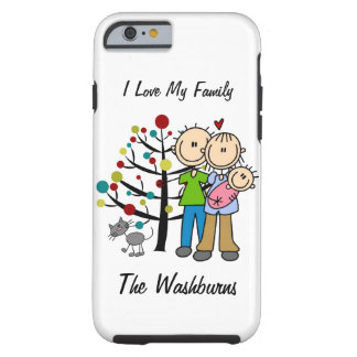 Stick Figure Family Baby Girl With Cat iPhone 6 Tough iPhone 6 Case