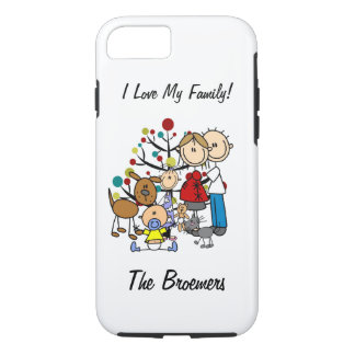Stick Figure Family Expectant Mom w Pets iPhone 7 iPhone 7 Case