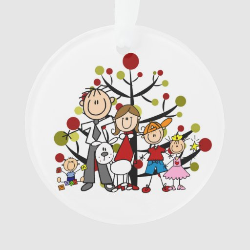 stick figure family of 5 with dog acrylic ornament zazzle