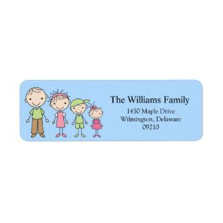 Stick Figure Family Return Address Labels