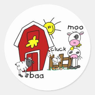 Stick Figure Farm Animals Classic Round Sticker