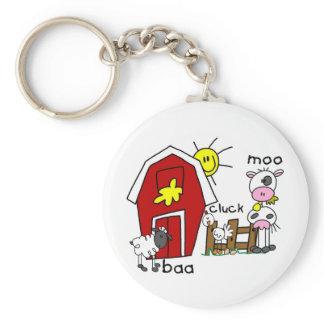 Stick Figure Farm Animals Keychain