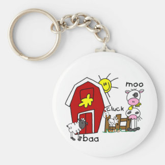 Stick Figure Farm Animals Tshirts and Gifts Basic Round Button Keychain