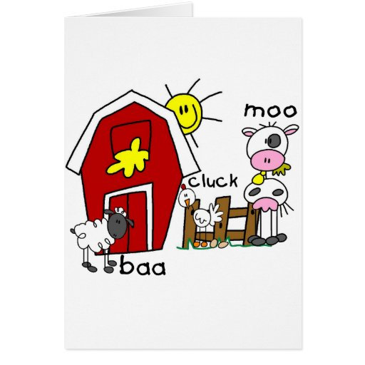 Stick Figure Farm Animals Tshirts and Gifts Greeting Cards