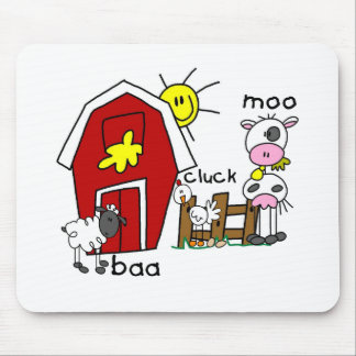 Stick Figure Farm Animals Tshirts and Gifts Mouse Pad