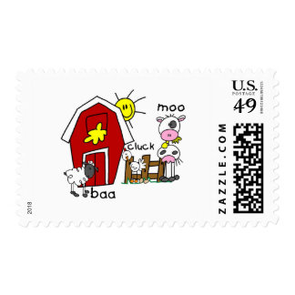 Stick Figure Farm Animals Tshirts and Gifts Postage