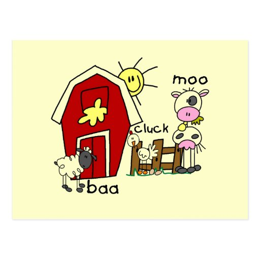 Stick Figure Farm Animals Tshirts and Gifts Postcard