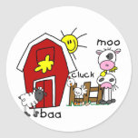 Stick Figure Farm Animals Tshirts and Gifts Round Stickers