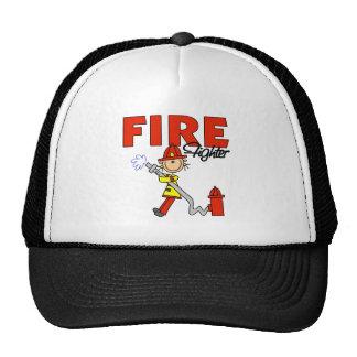 Stick Figure Firefighter Baseball Cap Trucker Hat