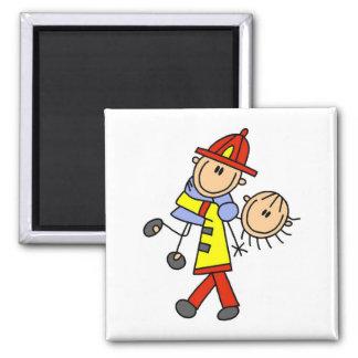 Stick Figure Firefighter Saving Lives 2 Inch Square Magnet