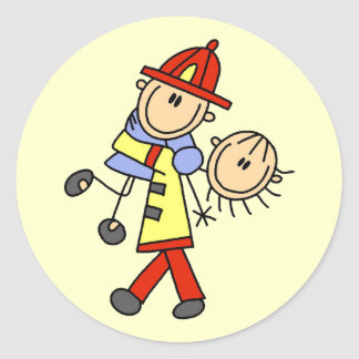 Stick Figure Firefighter Saving Lives Round Stickers