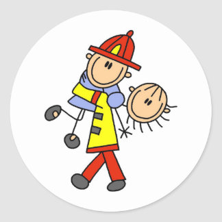 Stick Figure Firefighter Saving Lives Stickers