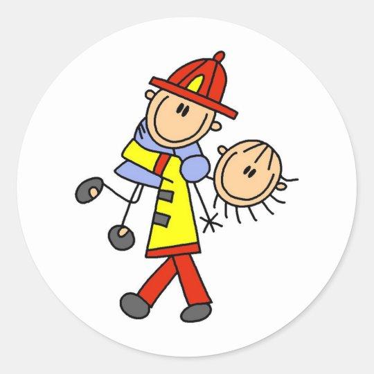 Stick Figure Firefighter Saving Lives Stickers
