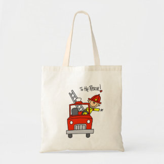 Stick Figure Firefighter to the Rescue Budget Tote Bag