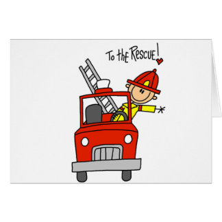 Stick Figure Firefighter to the Rescue Card