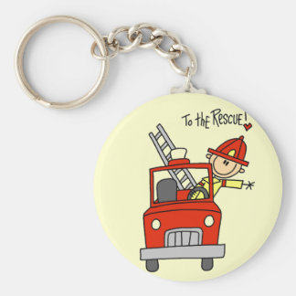 Stick Figure Firefighter to the Rescue Keychain