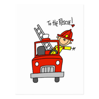 Stick Figure Firefighter to the Rescue Postcard