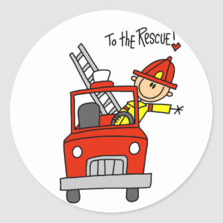 Stick Figure Firefighter to the Rescue Round Stickers
