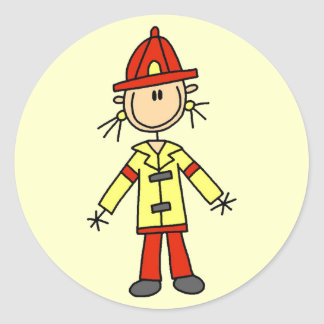 Stick Figure Firefighter Tshirts and Gifts Round Stickers