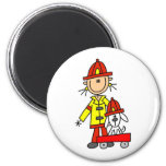 Stick Figure Firefighter with Dalmation Magnet Magnets