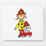 Stick Figure Firefighter with Dalmation Mousepad