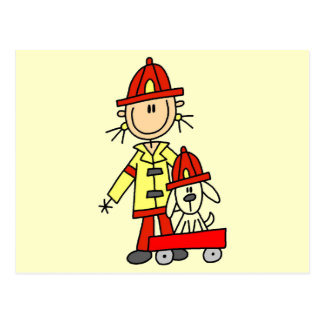 Stick Figure Firefighter with Dalmation Postcard