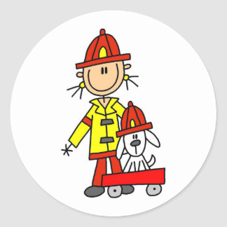 Stick Figure Firefighter with Dalmation Sticker