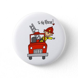 Stick Figure Firefighter with Fire Engine Button button