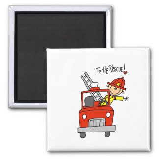Stick Figure Firefighter with Fire Engine Magnet